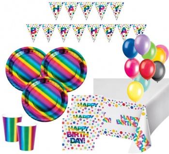 XL 44 Teile Geburtstags Party Deko Set schimmernder Regenbogen - foliert für 8 Personen