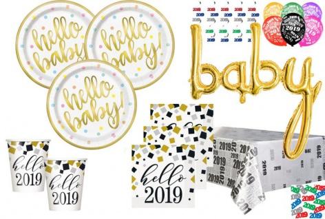 XL 46 Teile Hello Baby Babyshower 2019 Party Deko Set Gold foliert für 8 Personen