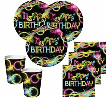 48 Teile Knicklicht Neon Raver Basis Party Deko Set für 16 Personen