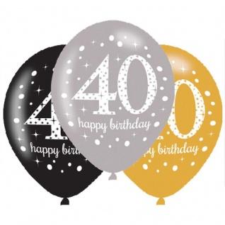 6 Luftballons Gold und Silber 40. Geburtstag