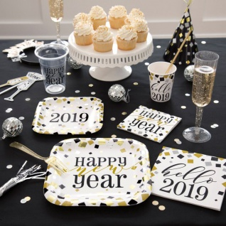 Tischdecke Silvester Party Hello 2019 in Gold Silber und Schwarz - Vorschau 3