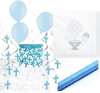 XXL 68 Teile Baby Taufe in Blau Partydekoration Set für bis zu 40 Personen - Kreuz Dekoration