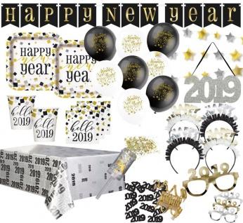 XXL 55 Teile Deluxe 2019 Silvester und Neujahrs Gold Happy New Year Deko Set für 8 Personen