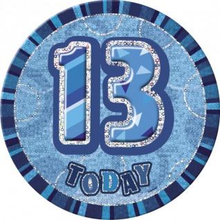 XXL Glitzer Button 13. Geburtstag Blau