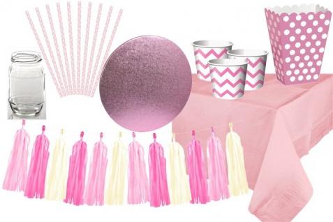 Deluxe Candy Bar Deko Set in Rosa Pink für den Kindergeburtstag oder die Baby Shower