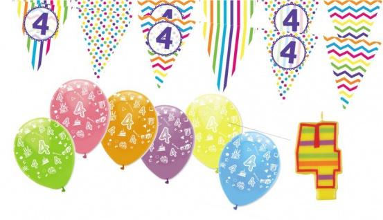 4. Geburtstag Girlande + Luftballons + Kerze Deko Set - Vier