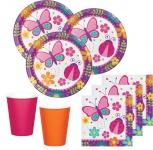48 Teile Party Deko Set Schmetterlinge im Garten für 16 Personen Pink Orange