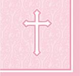 18 Servietten rosa Kreuz