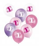 8 Luftballons zum 1. Geburtstag Rosa Mix