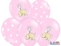 6 Baby Shower Pastell Rosa Luftballons Elefant
