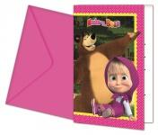 6 Einladungskarten Mascha und der Bär