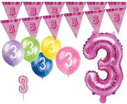 3. Geburtstag Pink Folienballon + Girlande + Luftballons + Kerze Deko Set - Drei