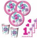 32 Teile Erster Geburtstag Windrad Pink Party Deko Set 8 Personen