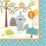 16 Servietten zum 1. Geburtstag kleiner Waschbär Blau