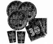 48 Teile zum 30. Geburtstag Party Set in Schwarz für 16 Personen