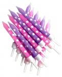 12 kleine Einhorn Kuchen Kerzen in Pink und Lavendel