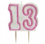 13. Geburtstag Glitzer Kerzen Pick Pink