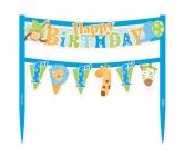 1. Geburtstag im Zoo Blau Torten Banner