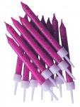 12 Glitzer Kuchen Kerzen Pink