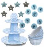 90 Teile Erster Geburtstag Muffin Dekorations Backset Blau für bis zu 75 Cupcakes
