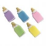 5 Zuckerfiguren bunte Baby Fläschchen