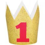 goldenes Glitzer Party Krönchen mit roter Eins zum Ersten Geburtstag