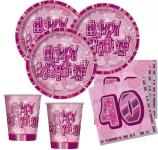 48 Teile Party Set zum 40. Geburtstag in Pink für 16 Personen