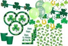 XXL 62 Teile St. Patricks Day Deko Set Kleeblatt 8 Personen