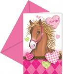 6 Pferde Party Einladungskarten Pink Pony