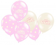 6 Baby Shower It´s a Girl Pastell Rosa Luftballons