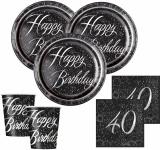 32 Teile edles Party Deko Set zum 40. Geburtstag in Schwarz Silber foliert für 8 Personen