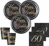 32 Teile edles Party Deko Set zum 50. Geburtstag in Schwarz Gold foliert für 8 Personen