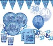 56 Teile zum 30. Geburtstag Party Set in Blau für 16 Personen