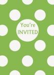 8 Einladungskarten hellgrüne Punkte