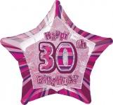 30. Geburtstag Glitzer Folien Ballon Pink