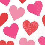 16 Servietten Herzchen rosa und rot Key to your Heart