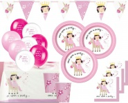 XL 42 Teile Prinzessin mit Einhorn Party Deko Set für 8 Personen