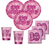 48 Teile Party Set zum 30. Geburtstag in Pink für 16 Personen