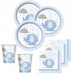 32 Teile Baby Shower Deko Set Blauer Elefant 8 Personen