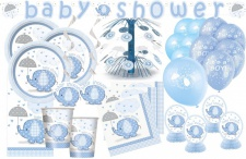 XXL+ 69 Teile Baby Elefant in Blau Babyshower Set für 16 Personen