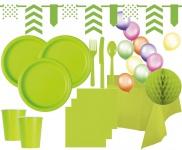XXL 99 Teile Party Deko Set Neon Grün für 12 Personen