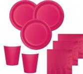 52 Teile Party Deko Set Pink Magenta für 16 Personen
