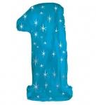 XXL Glitzer Folienballon in Form der Zahl 1 in Blau
