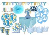 90 Teile Party Deko Set zum 1. Geburtstag Blau für 16 Personen
