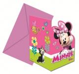 6 Einladungskarten Minnie Happy in Pink
