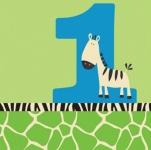 16 Servietten 1. Geburtstag Zebra blau