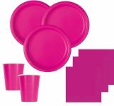 100 Teile Party Deko Set Neon Pink für 28 Personen