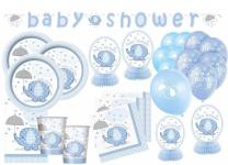 XXL 65 Teile Baby Elefant in Blau Babyshower Set für 16 Personen