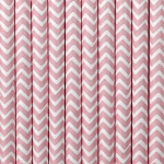 10 Papier Trinkhalme rosa weiß chevron