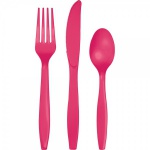 18 Teile Plastik Besteck Pink Magenta